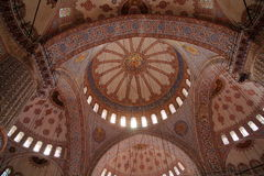 Decorated ceiling of Blue Mosque Stock Photos