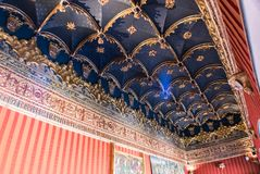 Decorated ceiling in castle room. In Spain royalty free stock photography