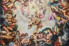 Decorated ceiling with frescos in castle Royalty Free Stock Image