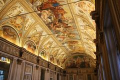 Decorated ceiling with frescos in a museum in Lombardia, Italy Royalty Free Stock Photo