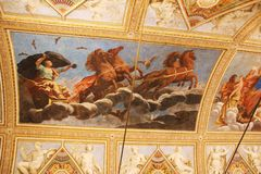 Decorated ceiling with frescos in a museum in Lombardia, Italy Stock Photos