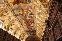 Decorated ceiling with frescos in the museum Palazzo Te in Mantova, Italy Royalty Free Stock Images