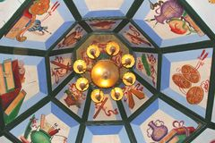 Decorated ceiling in the Hualin temple, the oldest temple in Guangzhou, China Stock Photo