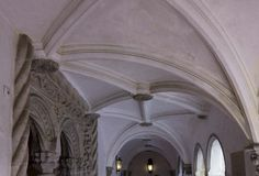 Decorated ceiling inside Pena Palace corridors Royalty Free Stock Photos