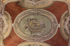 Decorated ceiling in Jeronimos Monastery Royalty Free Stock Photo