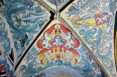Decorated ceiling in the old town hall of Prague Royalty Free Stock Photo