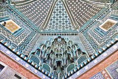 Decorated ceiling in Shah-i-Zinda necropolis, Samarkand. Decorated ceiling of Kusam-ibn-Abbas mausoleum in Shah-i-Zinda, a muslim necropolis in Samarkand Royalty Free Stock Photo