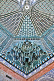 Decorated ceiling in Shah-i-Zinda necropolis, Samarkand. Decorated ceiling of Kusam-ibn-Abbas mausoleum in Shah-i-Zinda, a muslim necropolis in Samarkand Royalty Free Stock Photos