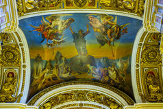 The decorated ceiling of St Isaac's Cathedral in St Petersburg Stock Image