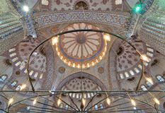 Decorated ceiling at Sultan Ahmed Mosque Blue Mosque, Istanbul Stock Photo