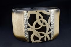 Empty decorated ceramic ashtray royalty free stock images