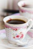 Decorated ceramic coffee cups Stock Photos