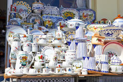 Decorated ceramic and traditional Portuguese souvenirs in Portug Stock Photography