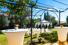 Decorated chairs on a outdoor wedding Stock Photo