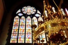 Decorated chandelier in church Saint Walburga stock photos