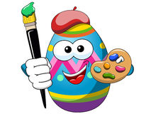 Decorated character egg isolated holding brush painter hat isolated Royalty Free Stock Photo