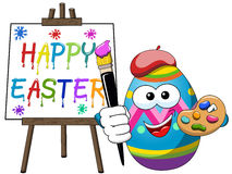 Decorated character painter egg isolated brush painting Happy Easter canvas isolated Royalty Free Stock Photo