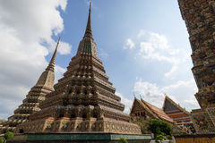 Decorated chedis at the Wat Pho temple in Bangkok Royalty Free Stock Photo