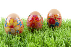 Decorated chicken eggs in grass Stock Photo