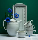 Decorated china tea-set with blue flowers on green Stock Photo
