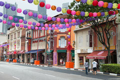 Decorated Chinatown street in Singapore Stock Photos
