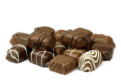 Decorated chocolate bonbons Stock Photos