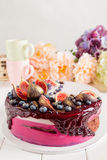 Decorated chocolate cake with lavender mousse Stock Photography