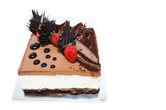 Decorated Chocolate and Cheese Cake Royalty Free Stock Image
