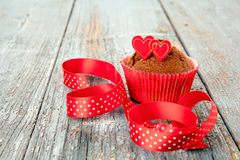 Decorated chocolate cupcake Royalty Free Stock Photography