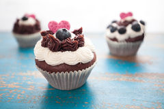 Decorated Chocolate Cupcakes on Rustic Blue Table Stock Images