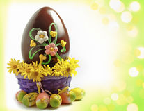 Decorated chocolate Easter egg Royalty Free Stock Photography