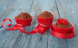 Decorated chocolate muffins Royalty Free Stock Image