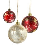 Decorated christmas balls. Red and gold matte christmas decoration balls hanging on white background stock images