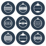 Decorated Christmas balls icon set  Stock Images