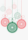 Decorated christmas balls with ribbons Royalty Free Stock Images