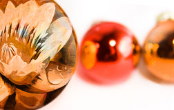 Decorated Christmas baubles Royalty Free Stock Photos