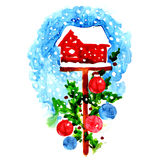 Decorated christmas birdhouse. Watercolor painting on white background Stock Photo