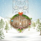 Decorated Christmas board vector illustration. Stock Photo