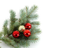 Decorated Christmas Bough #2. Blue spruce bough decorated with christmas ornaments Royalty Free Stock Photos