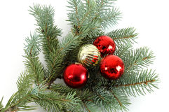 Decorated Christmas Bough #3. Blue spruce bough decorated with christmas ornaments Royalty Free Stock Photography