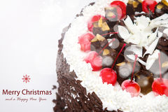 Decorated Christmas cake. Royalty Free Stock Images