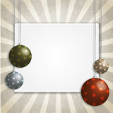 Decorated Christmas card with balls Stock Photos