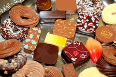 Decorated Christmas chocolates Royalty Free Stock Photos