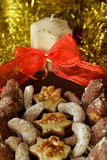 Decorated Christmas Cookies On The Brown Plate. Various Christmas cookies on the brown plate on the table Stock Image