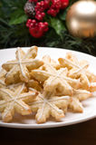 Decorated christmas cookies in festive setting Stock Photos