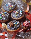 Decorated Christmas cupcakes Stock Images
