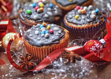 Decorated Christmas cupcakes Stock Image