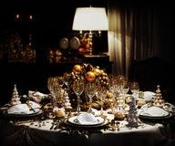 Decorated christmas dining table. A decorated christmas dining table Stock Photography