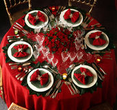 Decorated christmas dining table Royalty Free Stock Images