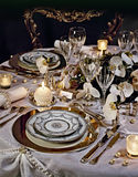 A decorated christmas dining table. With silverware Stock Images
